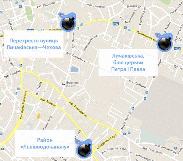 Карта вибухів у Львові