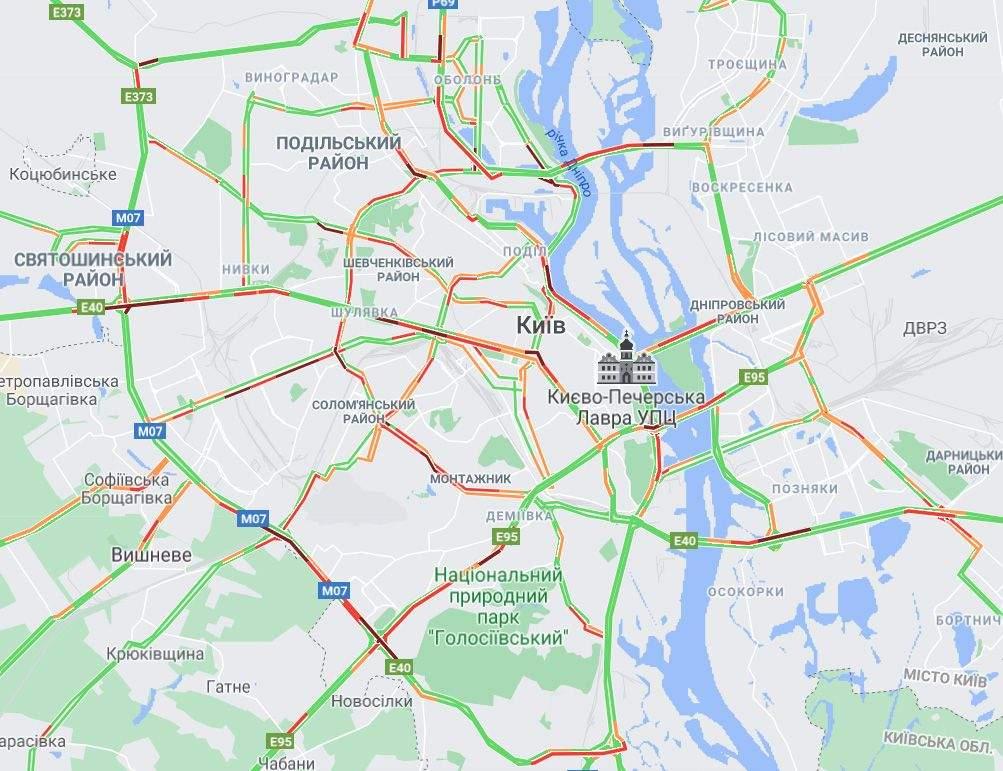 онлайн карта заторів в Києві 4 червня