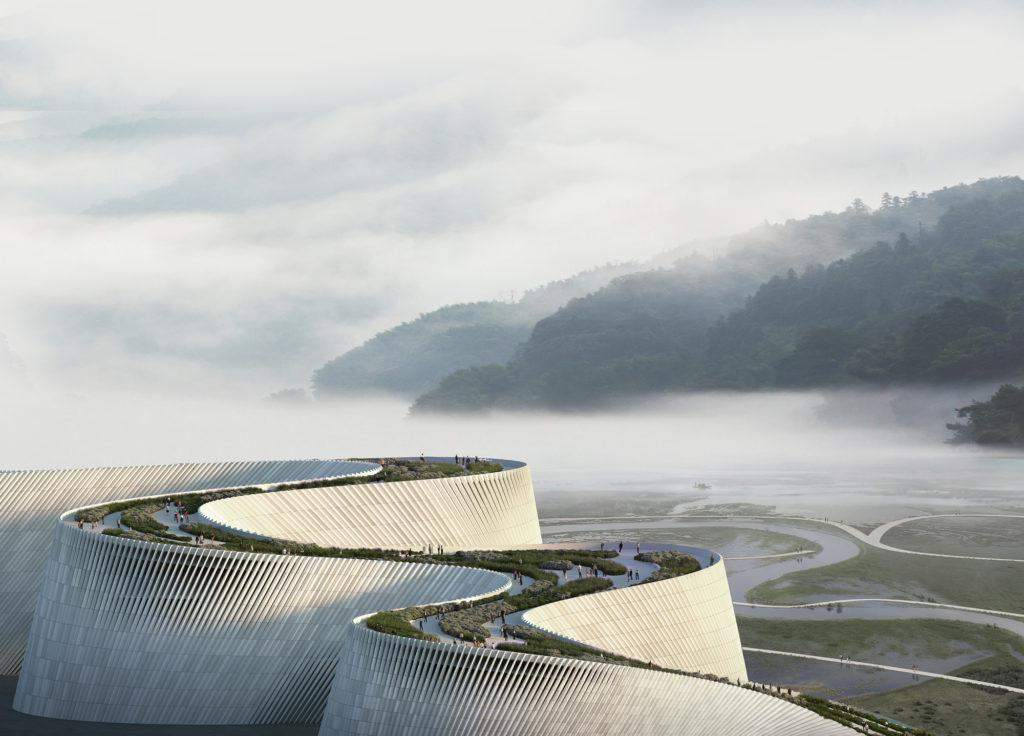 Парк на даху будівлі із прекрасними ландшафтом  / Фото World-architects