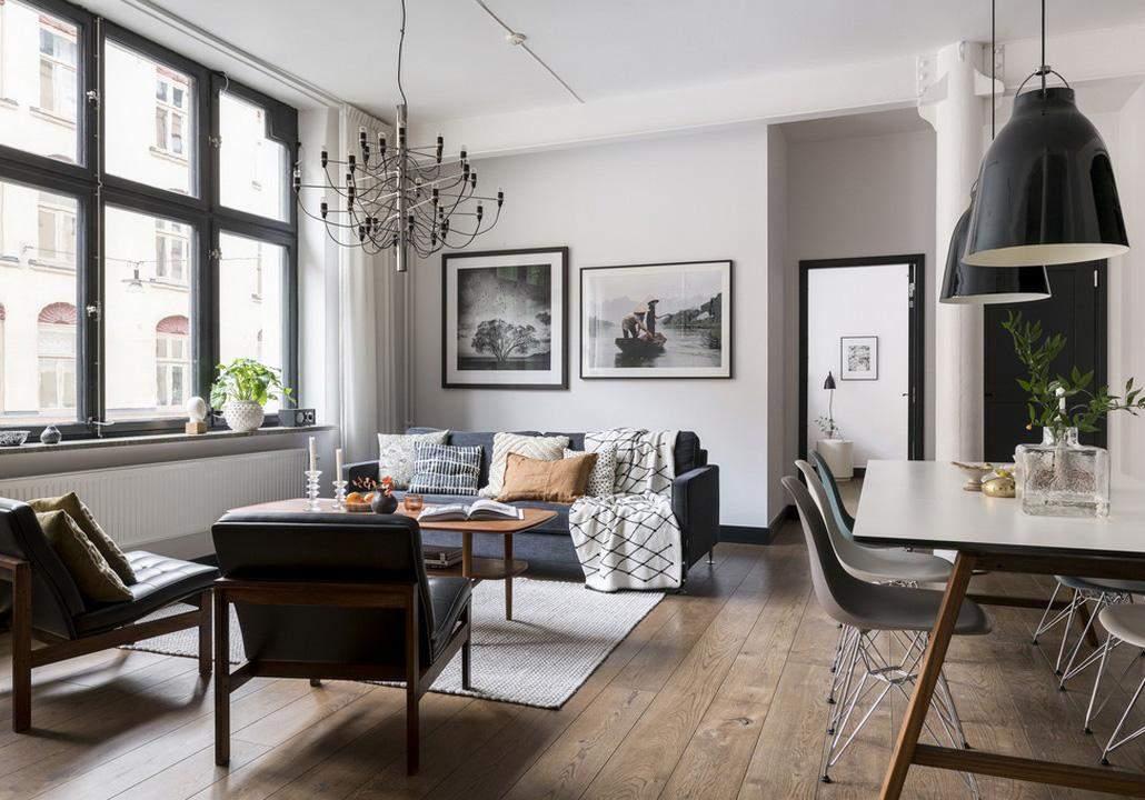 Оригинальные светильники подчеркивают общий стиль в доме
