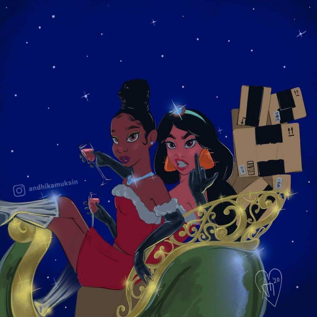 Паршиві подарунки та міцні напої: як принцеси Disney святкують Новий Рік