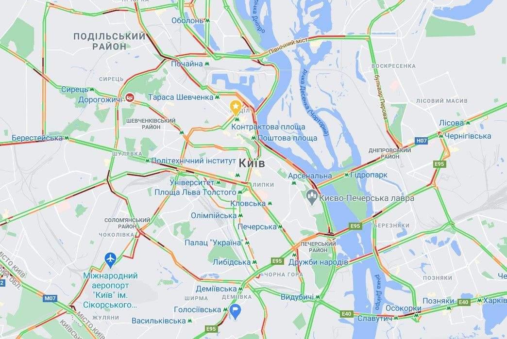 Де у Києві 10 грудня затори / Скриншот Google Maps