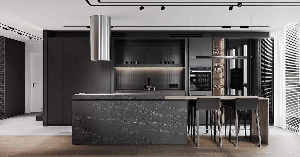 оформлення дизайну чорної кухні