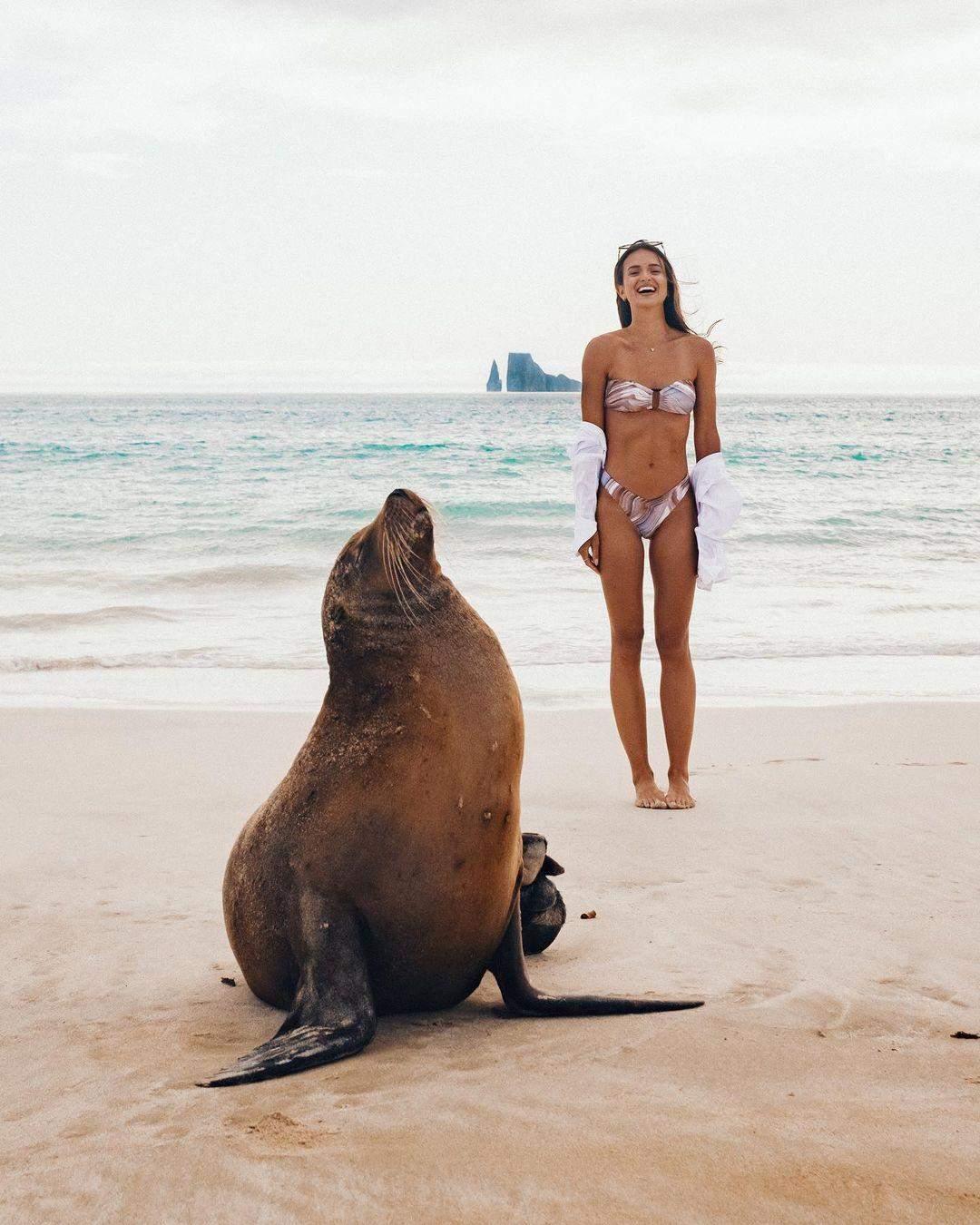 Гелен Овен знялася на пляжі з морським левом