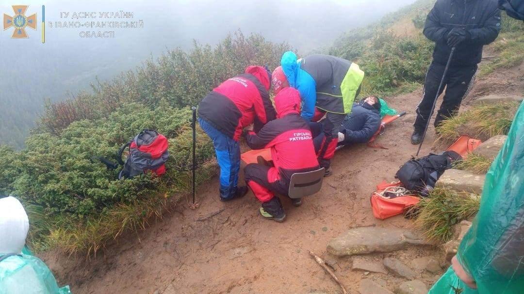 Туристка травмувалась в Карпатах