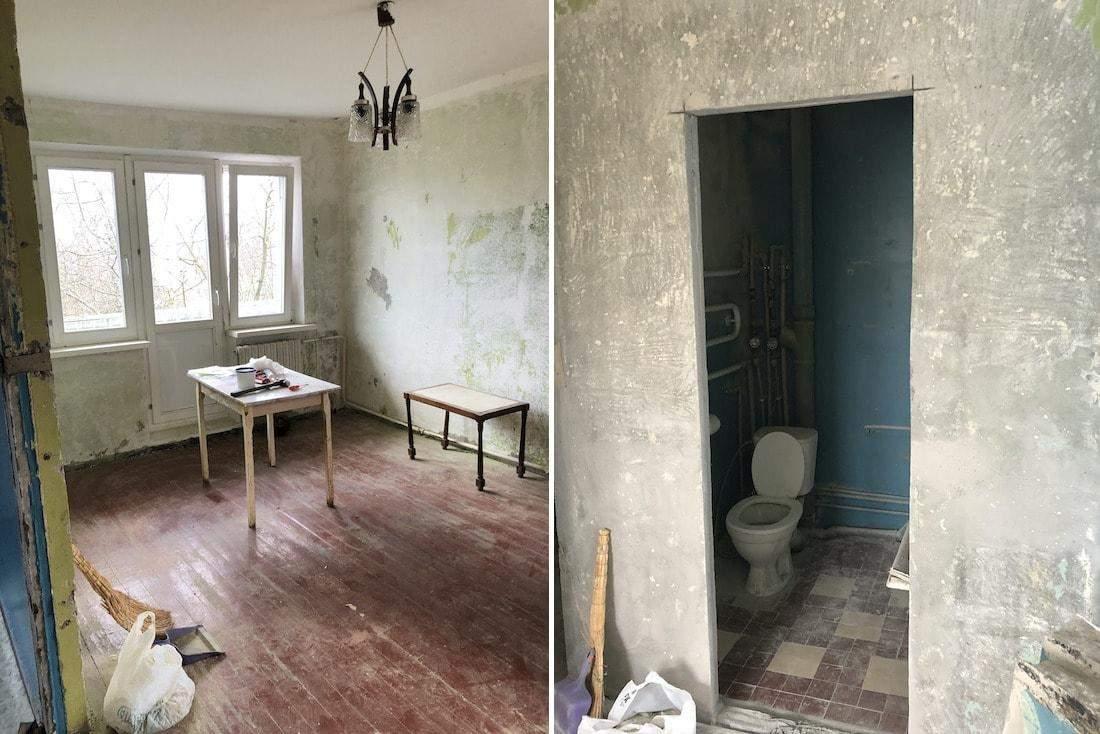 В квартире был старый и плохой ремонт