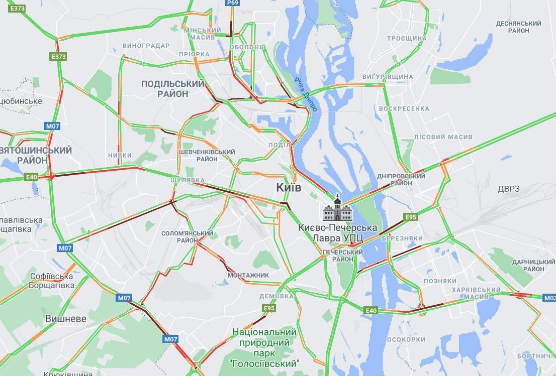 затори Київ 2 червня де ускладнено рух