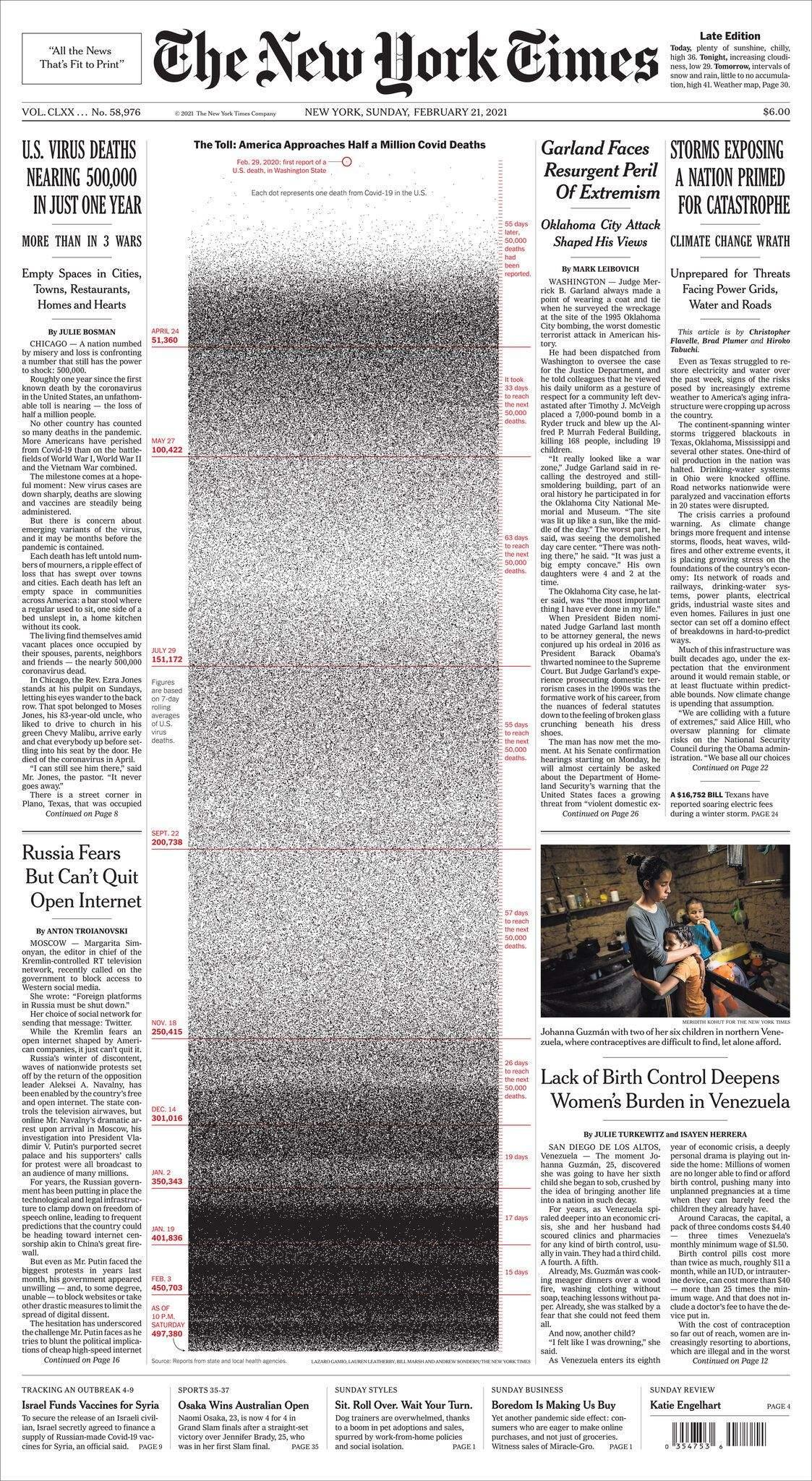 New York Times  вшанував жертв коронавірусу