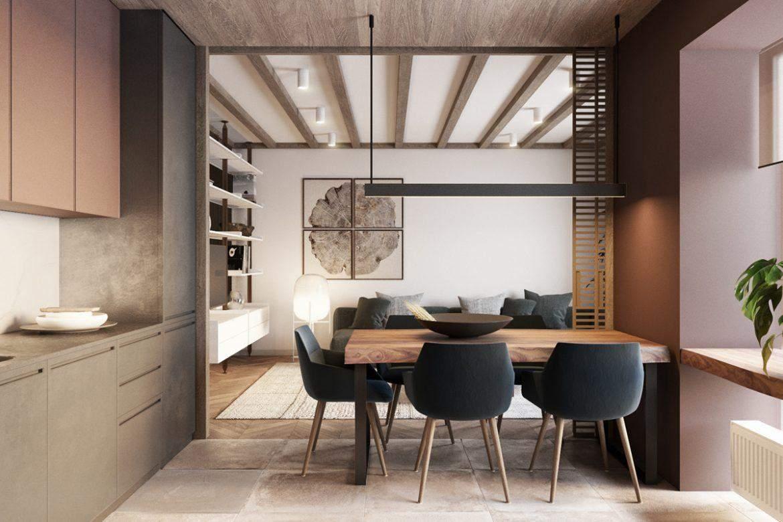 Кухня и гостиная объединены в общее пространство