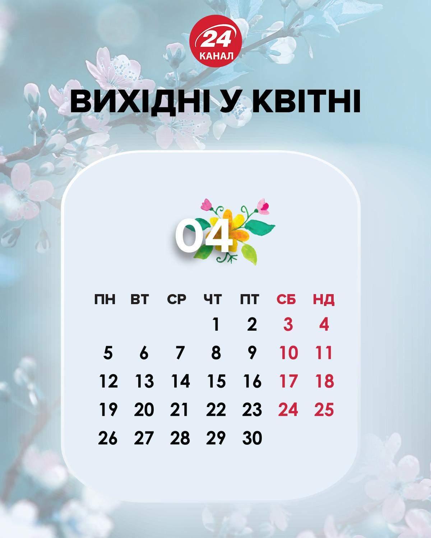 Вихідні у квітні 2021 Україна