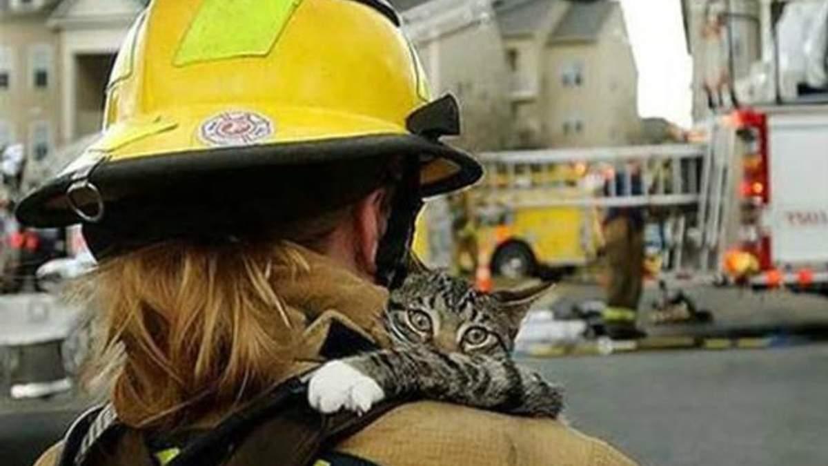 Пожежник з котом