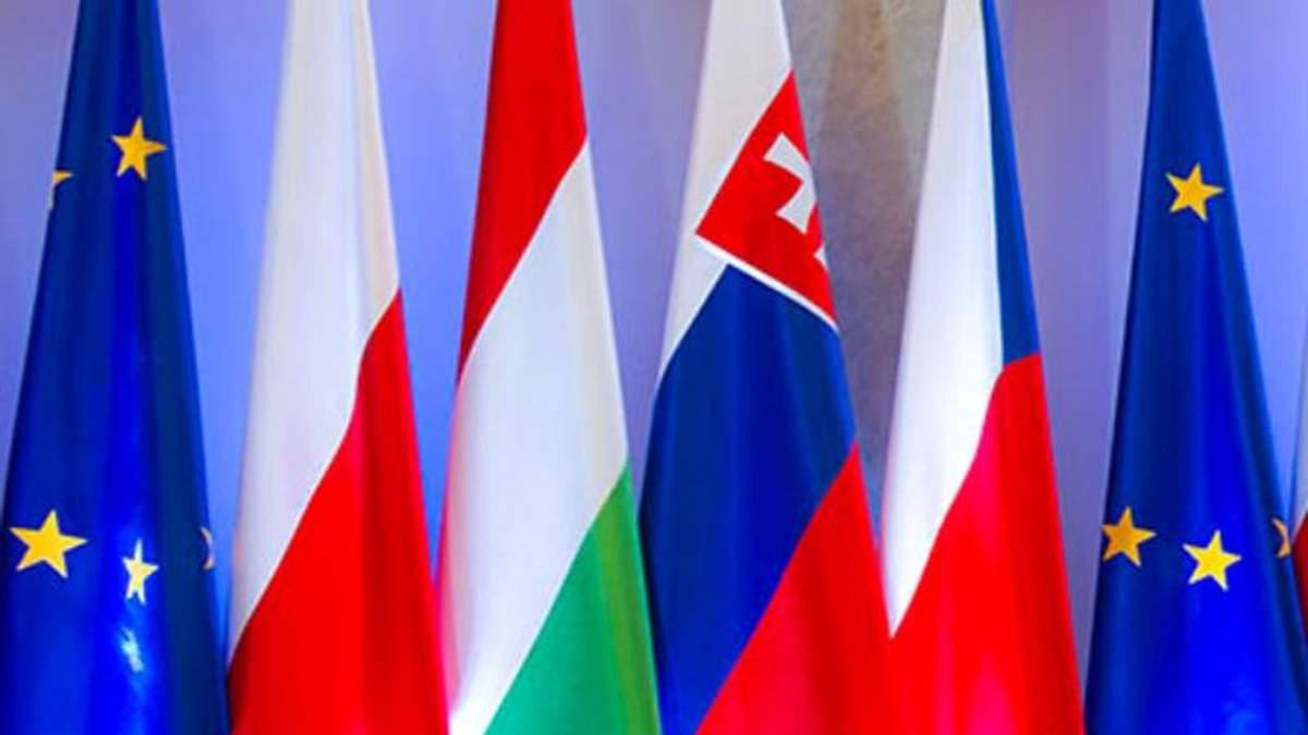 """Прапори країн """"Вишеградської четвірки"""""""