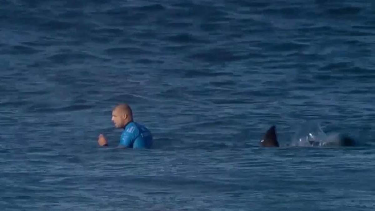 Серфер ногами отчаянно отбил нападение акулы