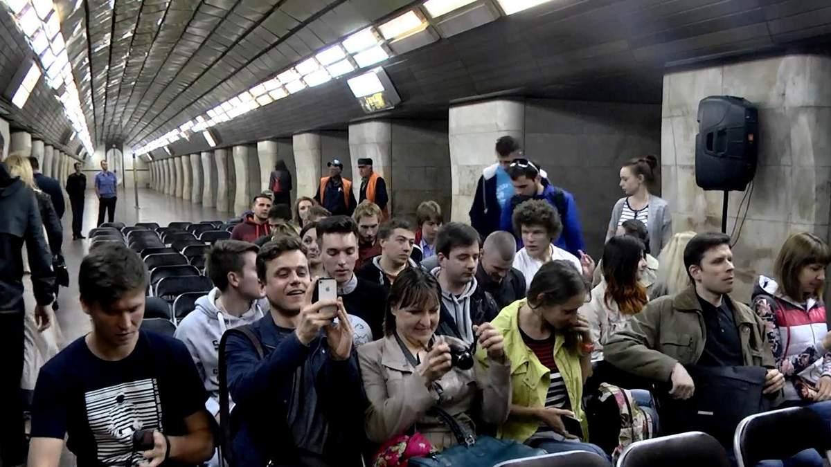 Как станция киевского метро впервые превратилась в кинозал