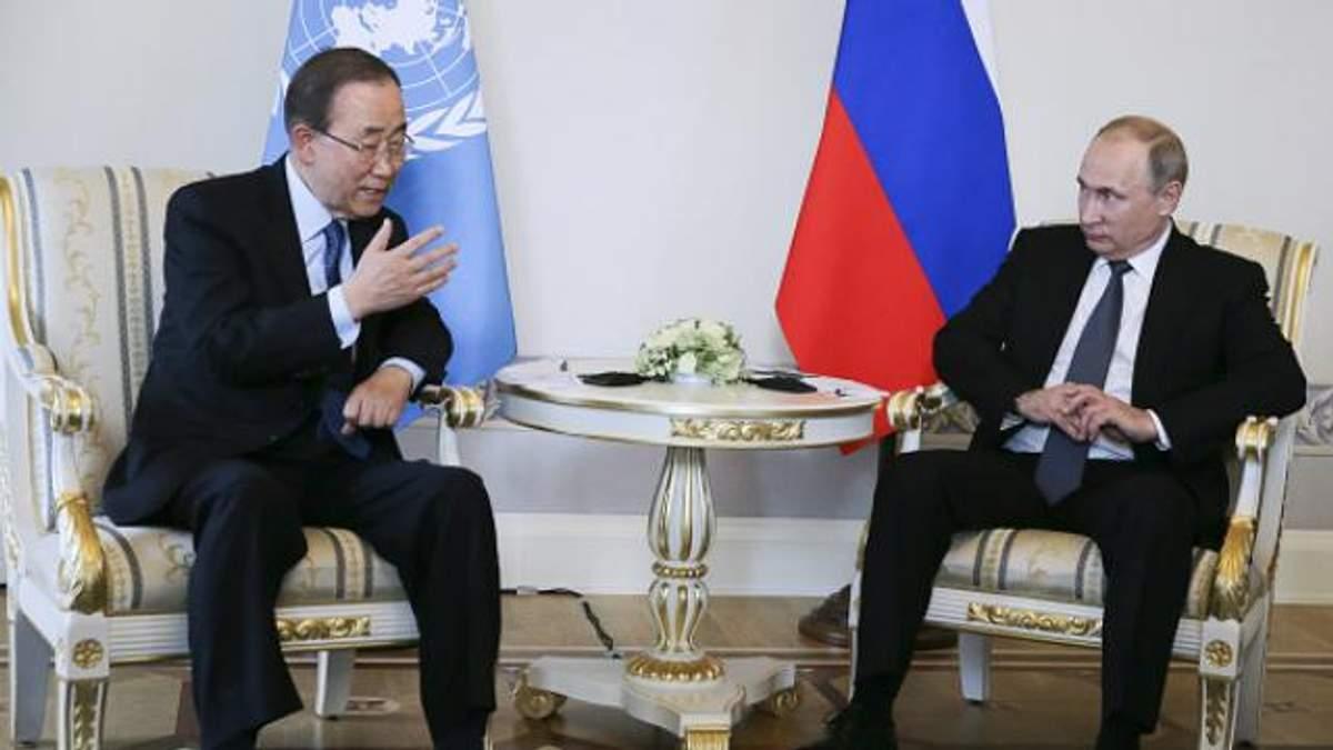 За время визита в Россию Пан ги Мун еще успел встретиться с Путиным
