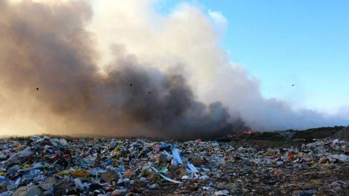 Под Киевом вспыхнула мусорная свалка