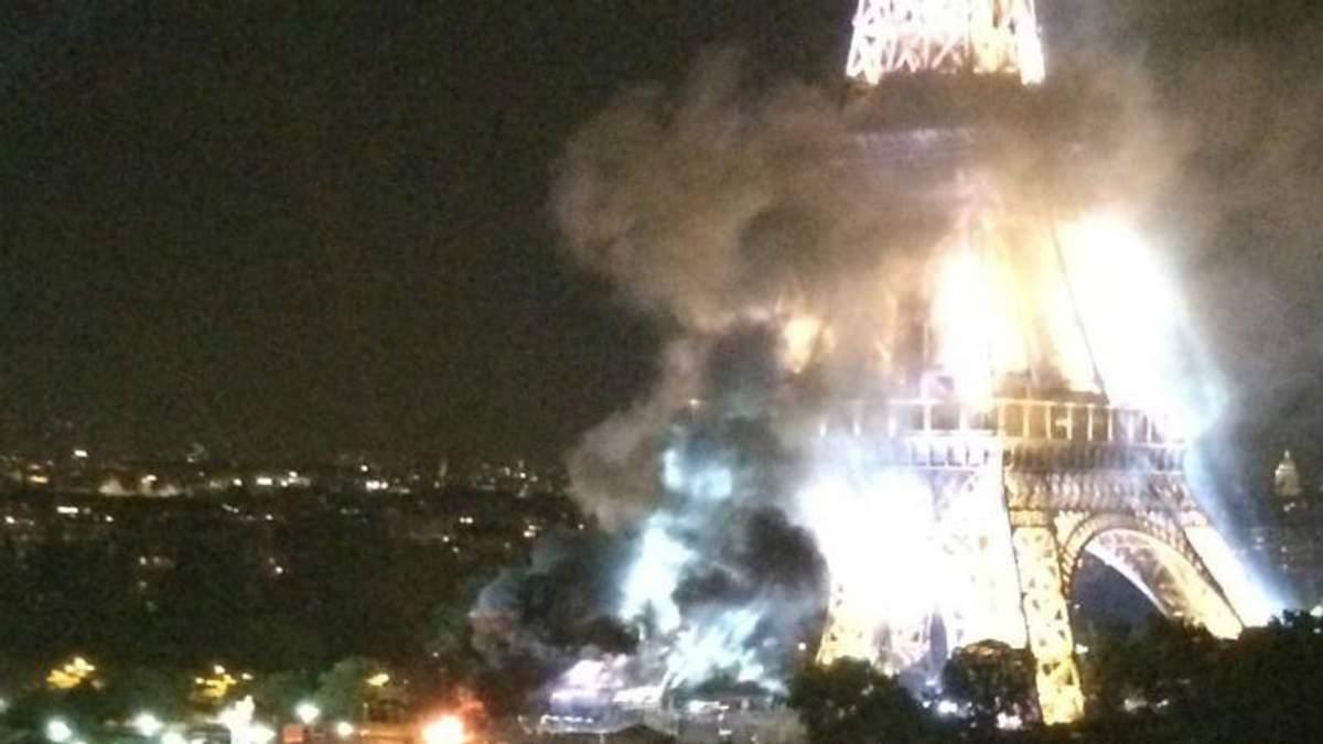 Эйфелева башня в дыму: в сети публикуют жуткие фото и видео