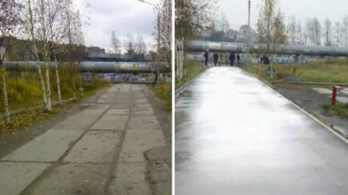 """Почувствуй разницу: в России """"отремонтировали"""" дорогу с помощью Photoshop"""