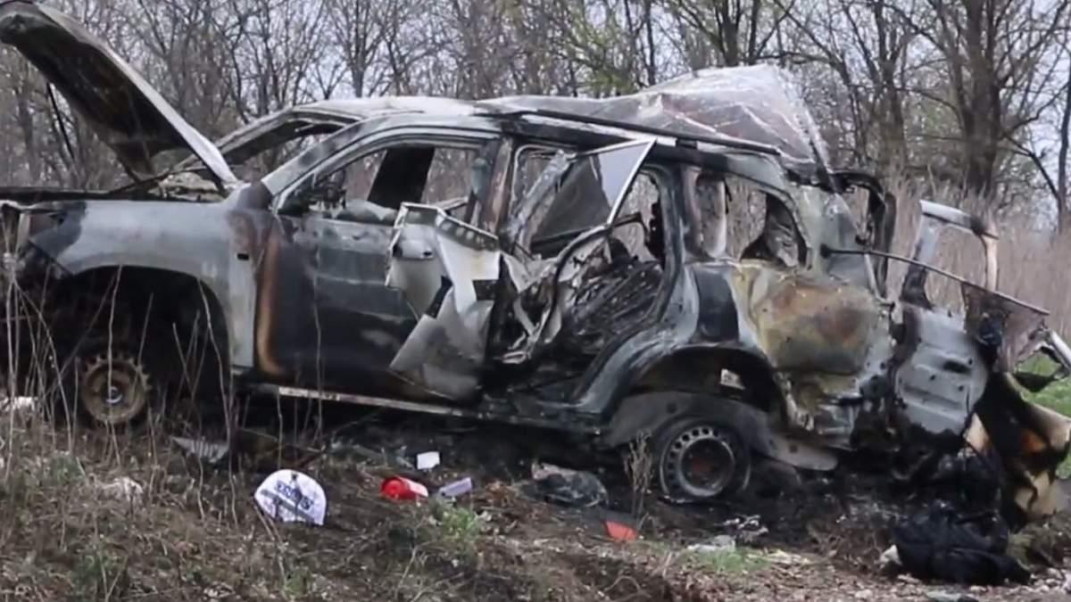 Опубліковано відео з місця вибуху машини ОБСЄ на окупованій Луганщині