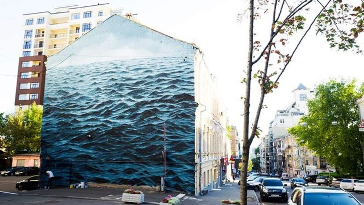 Африканець створив неймовірний мурал в Києві із зображенням Чорного моря: фото