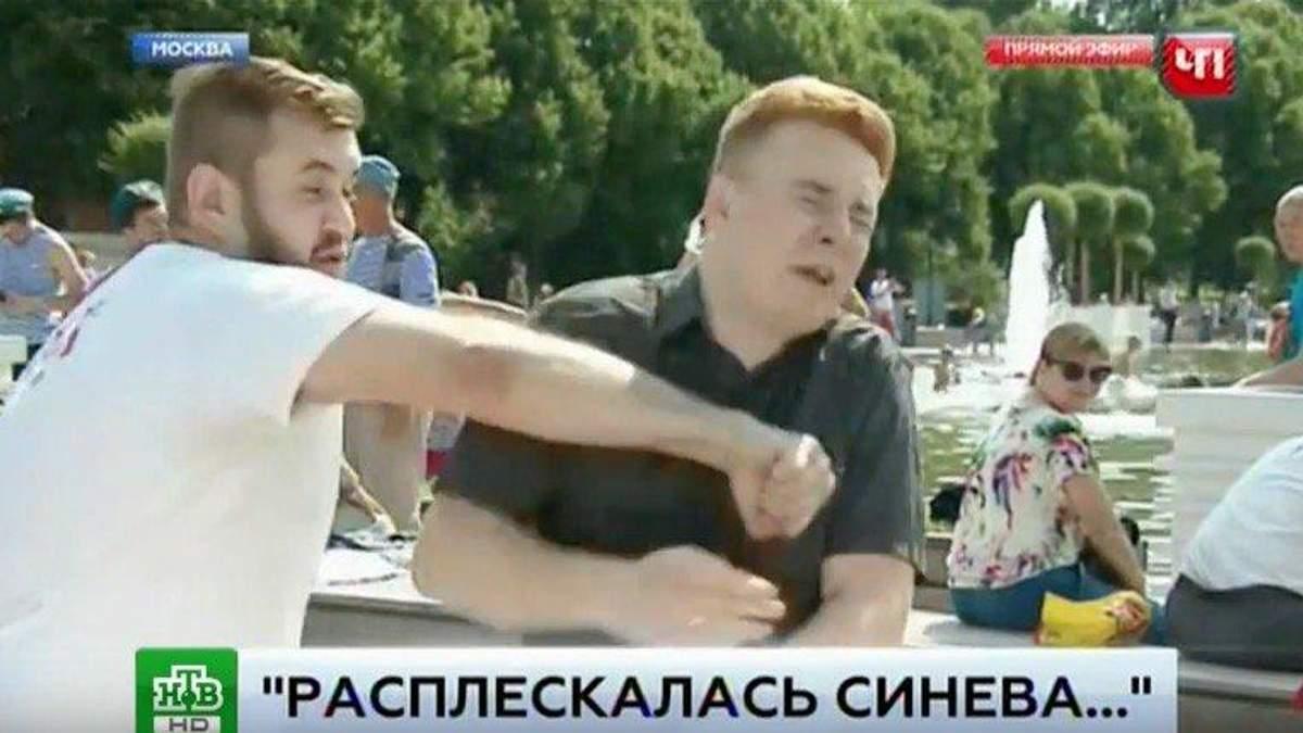 """П'яний """"десантник"""" побив журналіста в прямому ефірі"""