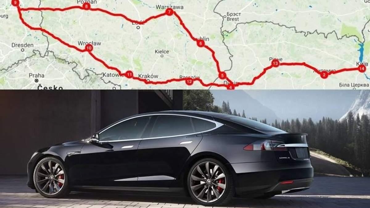 На електромобілі Tesla Model S з Україні в Європу безкоштовно