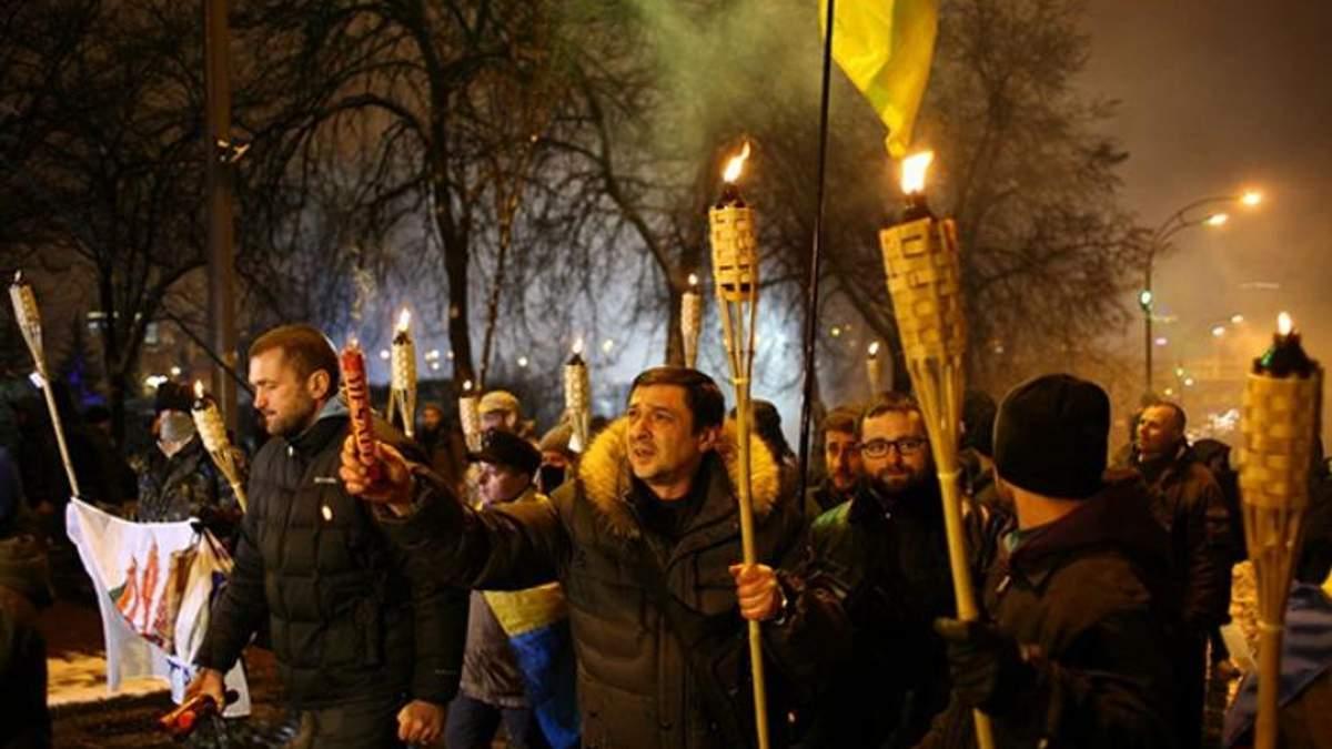 Факельное шествие прошло по центру Киева