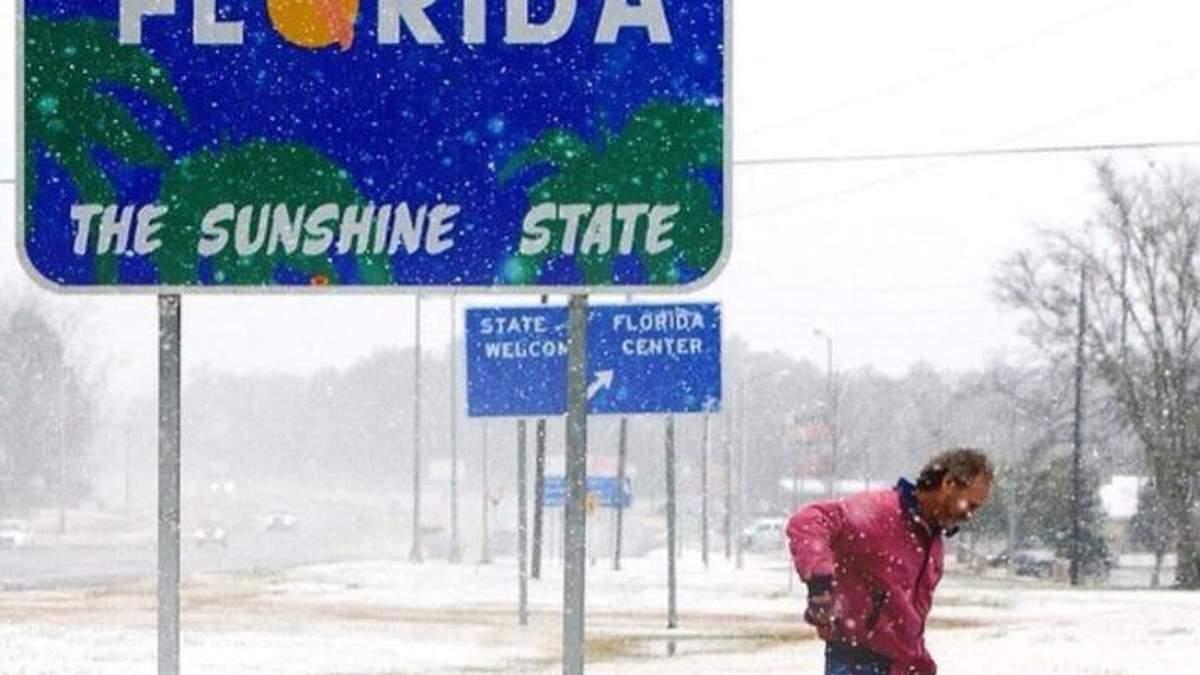 Во Флориде впервые за почти 30 лет выпал снег: забавные фото и видео из сети