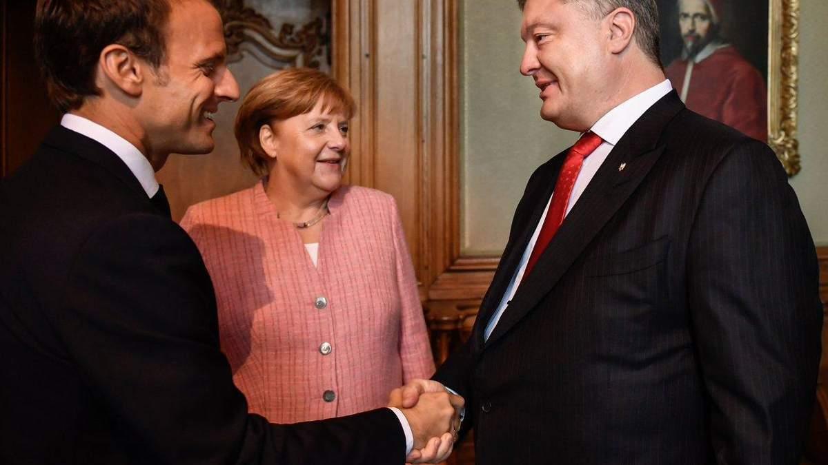 Зустріч Порошенка, Меркель і Макрона: сторони обговорили миротворців і санкції за вибори у Криму