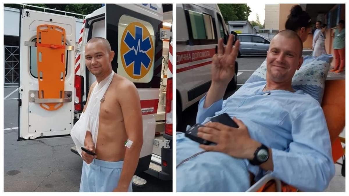 Раненые полицейские Андрей Пустовой и Илья Сидоренко