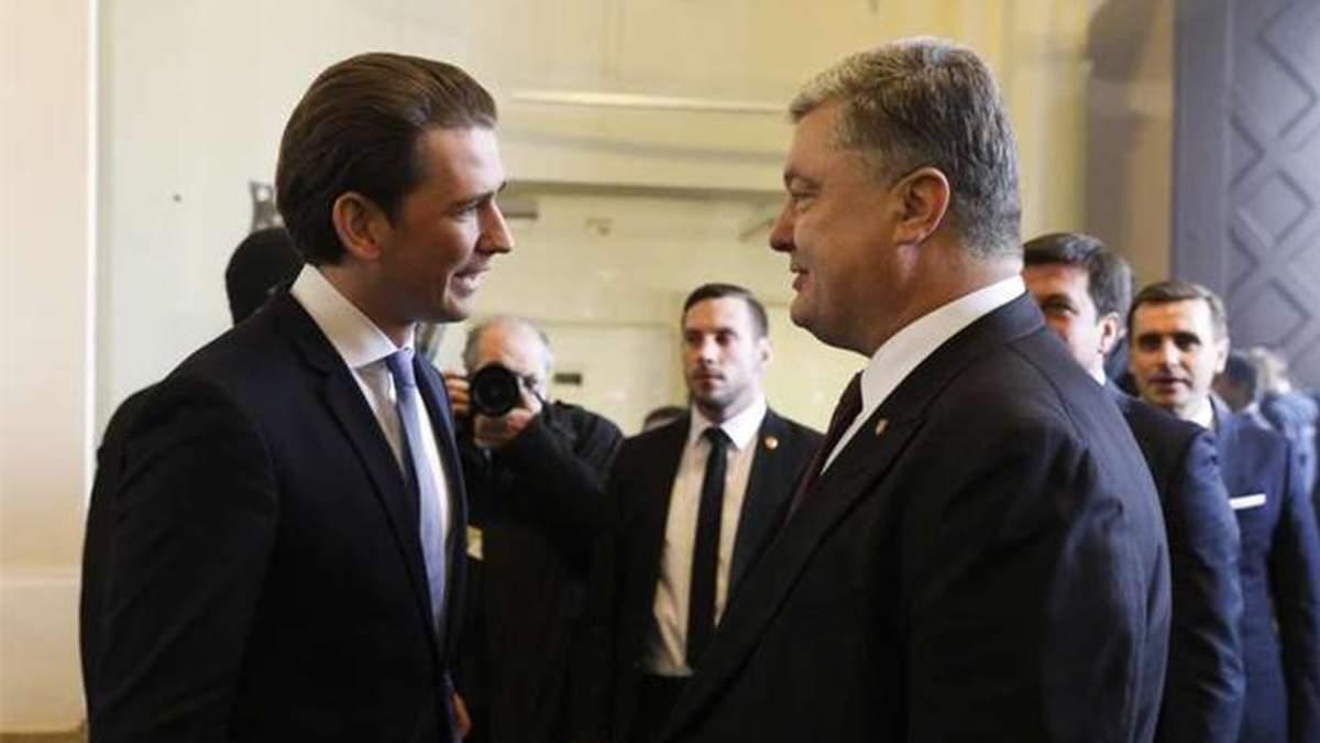 На зустрічі з Порошенком Курц засудив російську агресію і однозначно заявив про санкції