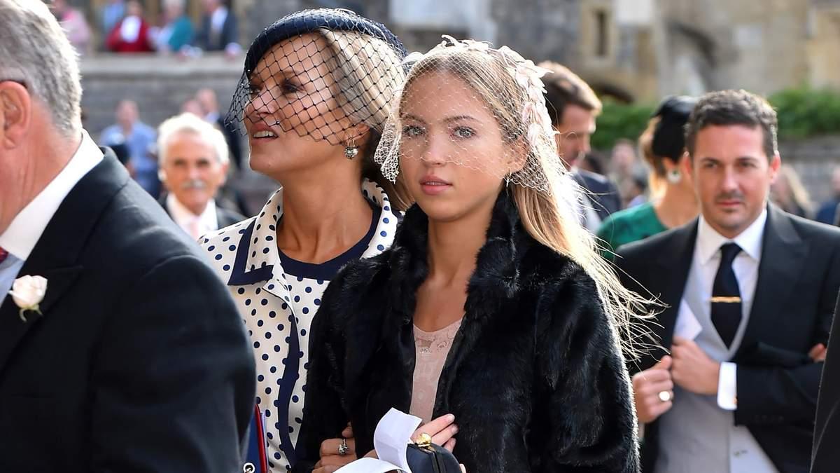 Кейт Мосс с дочкой Лилой Мосс на свадьбе принцессы Евгении