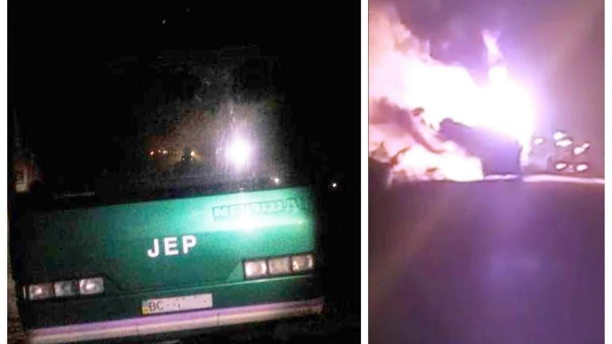 На Львівщині загорівся автобус із десятками людей всередині: фото і відео