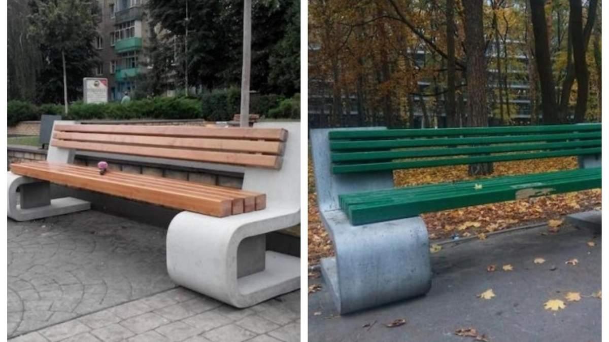 В Киеве коммунальщики покрасили дизайнерские скамейки в зеленый цвет