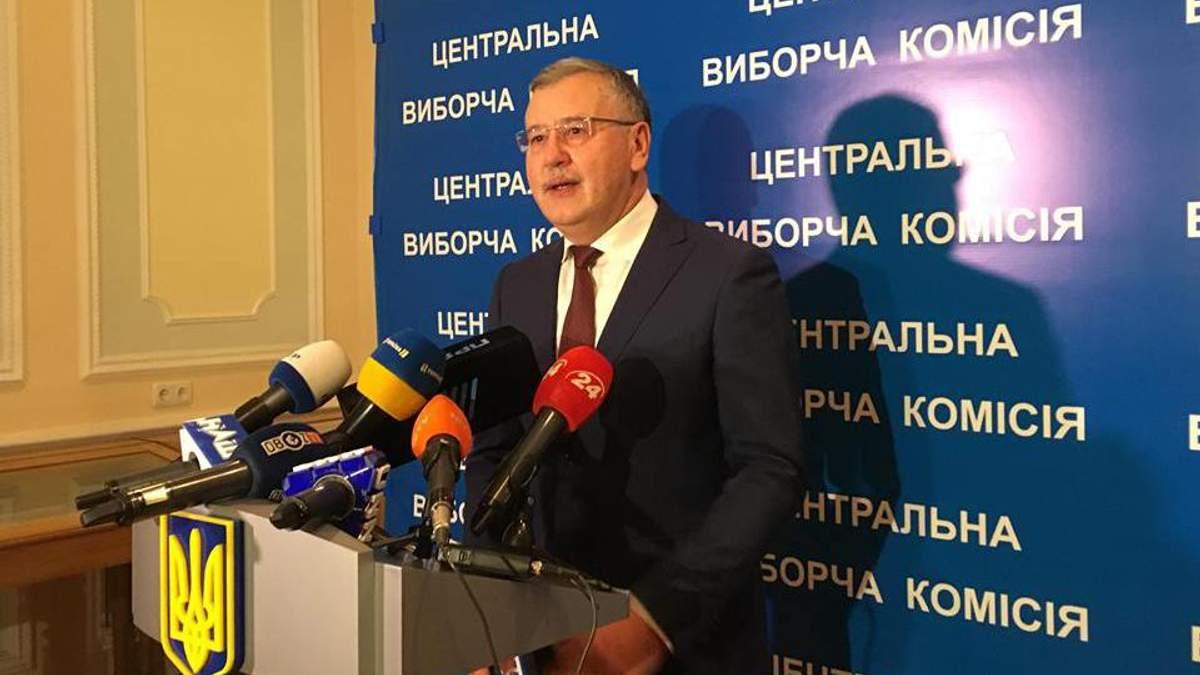 Анатолій Гриценко подав документи в ЦВК для реєстрації кандидатом у президенти