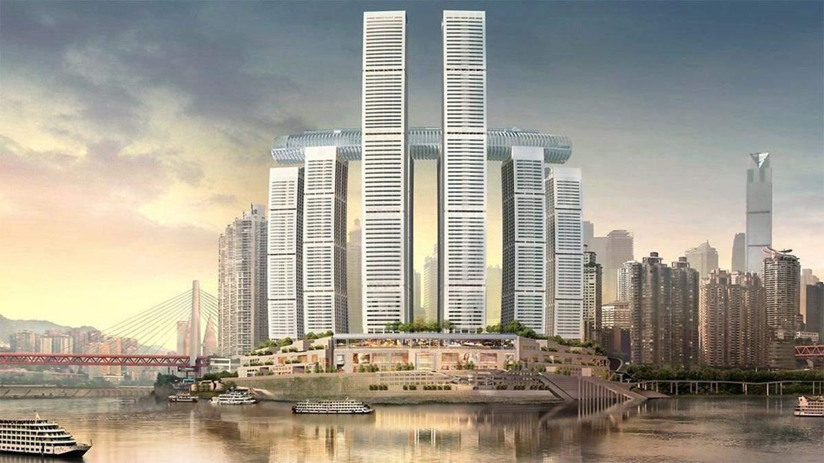 Первый в мире горизонтальный небоскреб достраивают в Китае: впечатляющие фото