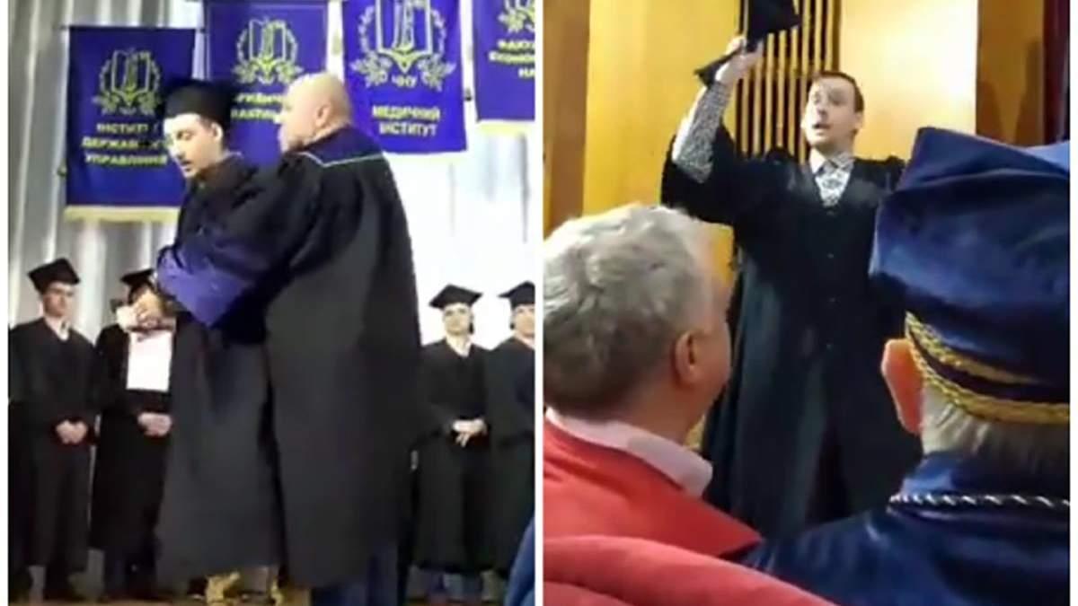 У Миколаєві зі сцени викинули студента, який заявив, що купив свій диплом: відео