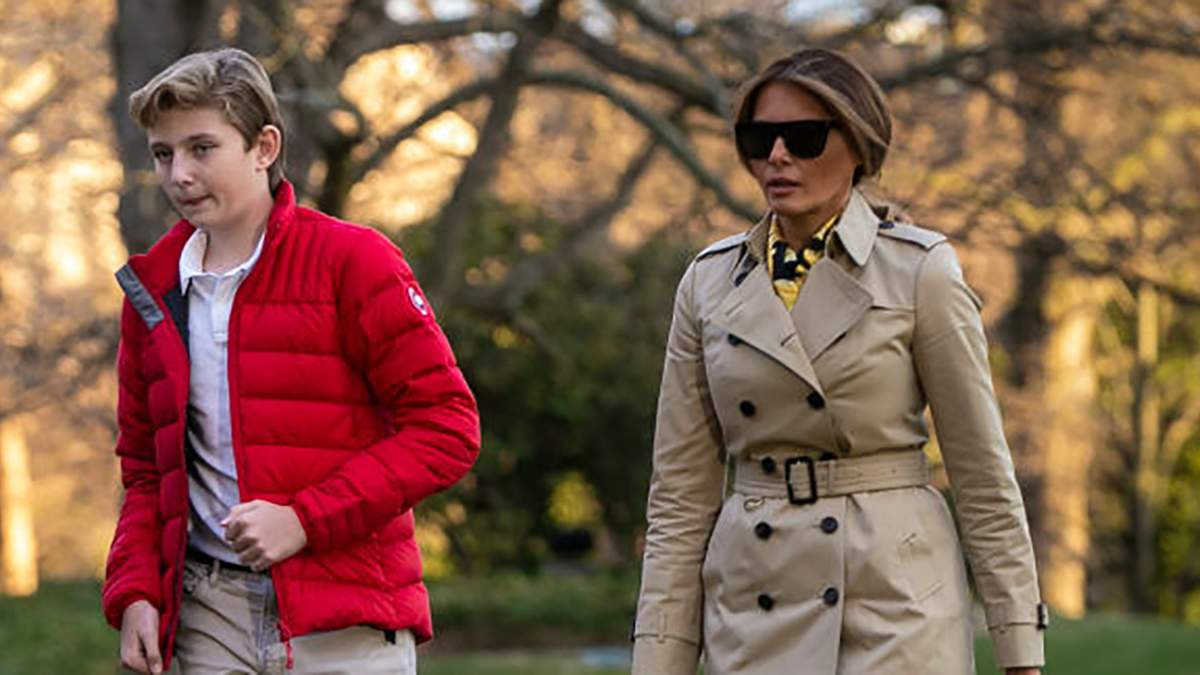 Мелания Трамп с сыном Бэрроном