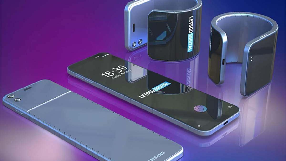 Samsung представит гибкий смартфон-браслет: фото