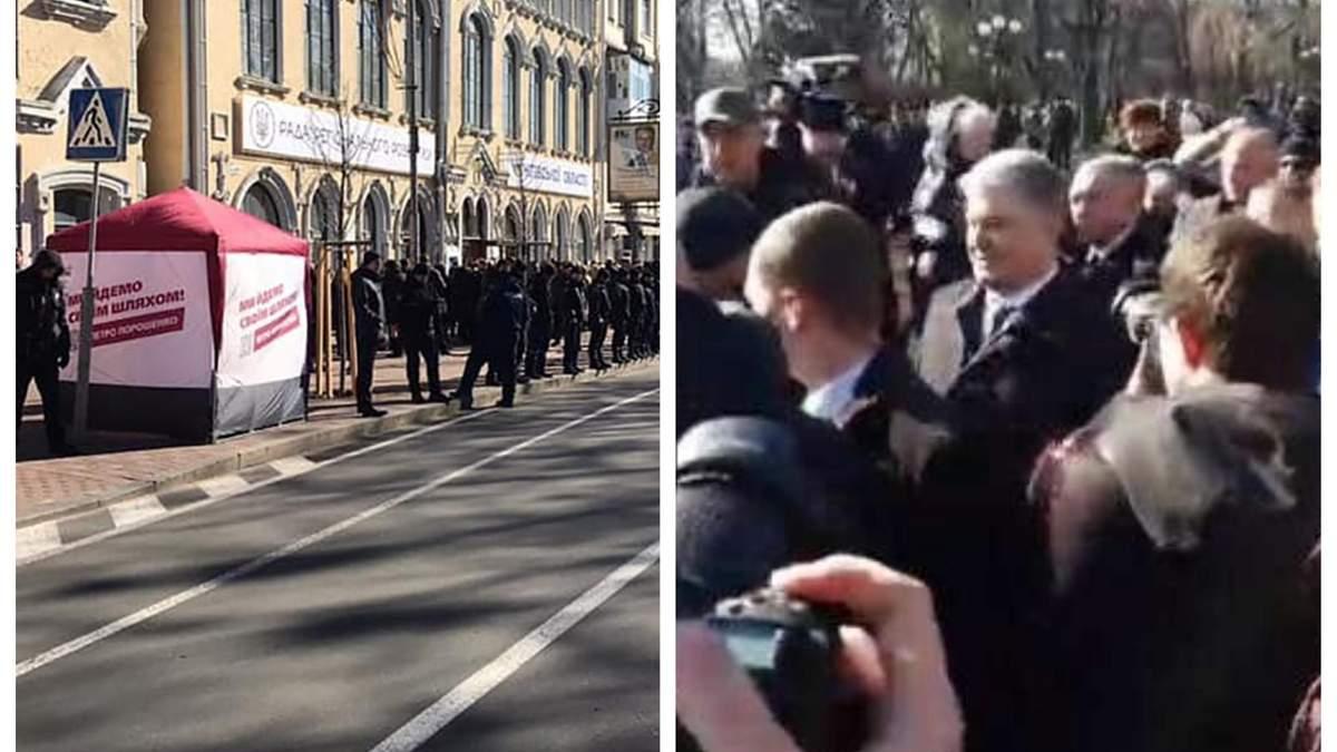 """""""Нацкорпус"""" влаштував акцію під час візиту Порошенка до Чернігова з гаслами """"де відрубані руки?"""""""