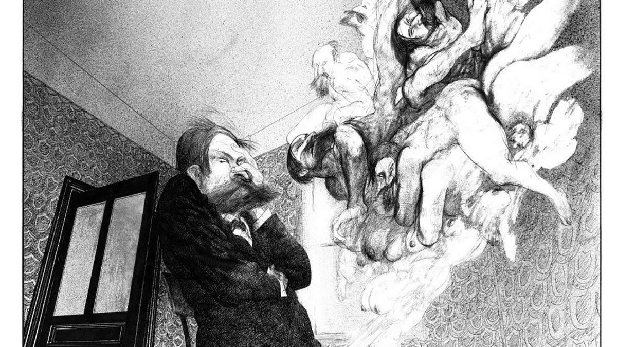 Фройд с обезьяньими глазами и под кокаином: ученый в гротескных иллюстрациях