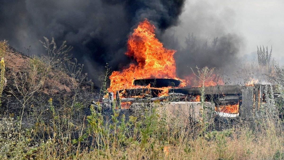 Масштабна пожежа в зоні ООС призвела до детонації снарядів – підозрюють диверсію: фото, відео
