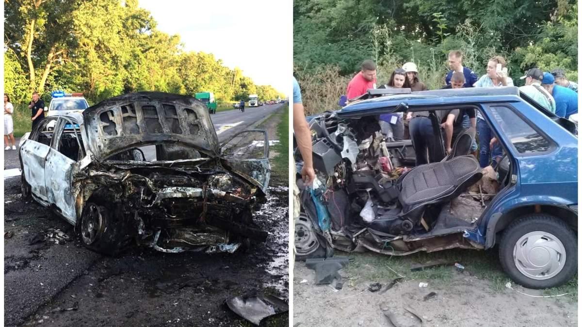 Последствия смертельного столкновения Toyota и ВАЗ под Полтавой