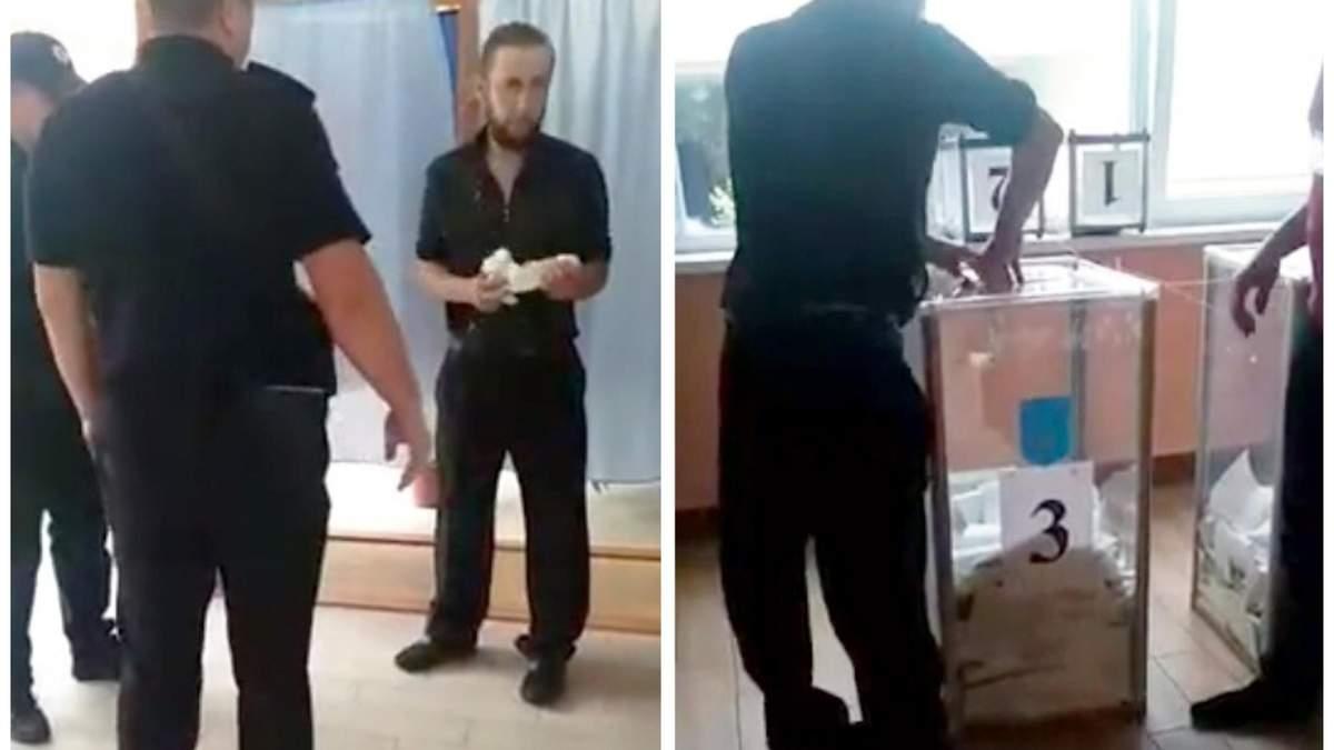 Мужчина порвал бюллетень на участке в Киеве