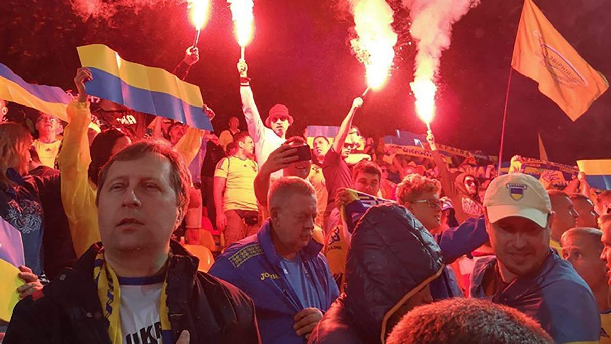 Українські вболівальник на матчі у Литві