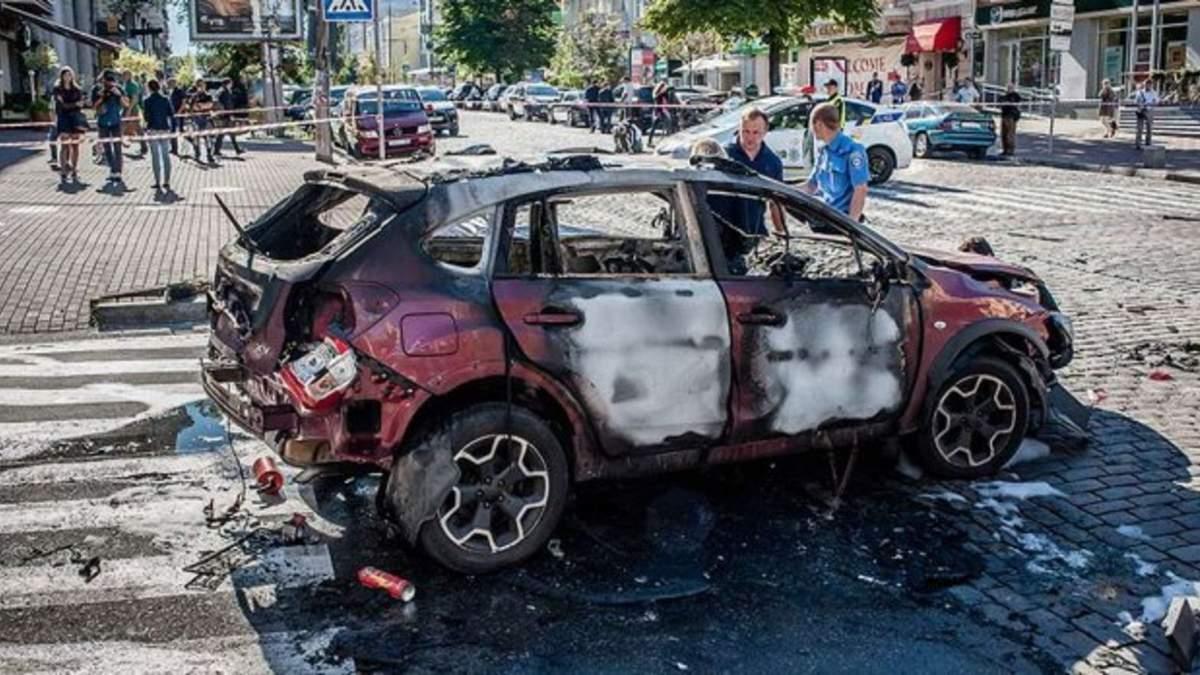 Авто, в котором ехал Павел Шеремет, после взрыва