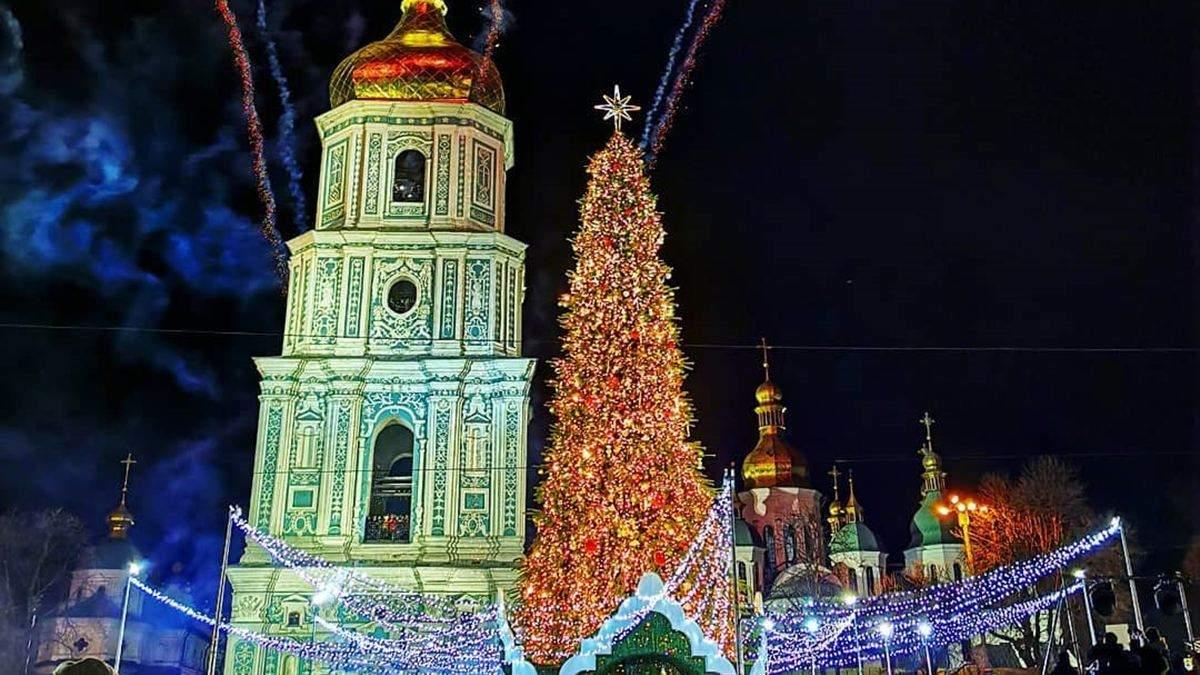 Главная елка страны 2020 – фото открытия елки в Киеве на Софиевской площади