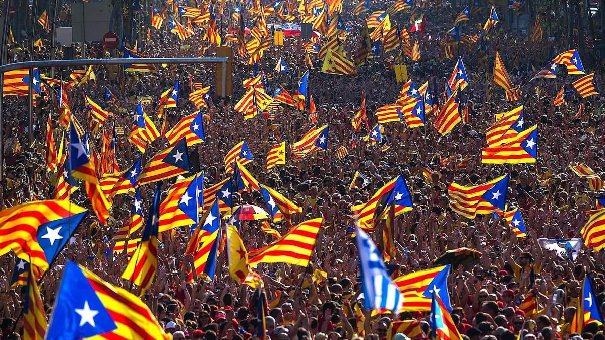 Так выглядели демонстрации в Каталонии