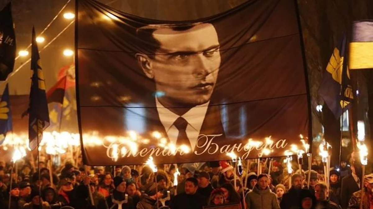 1 января в Киеве прошло факельное шествие ко дню рождения Степана Бандеры