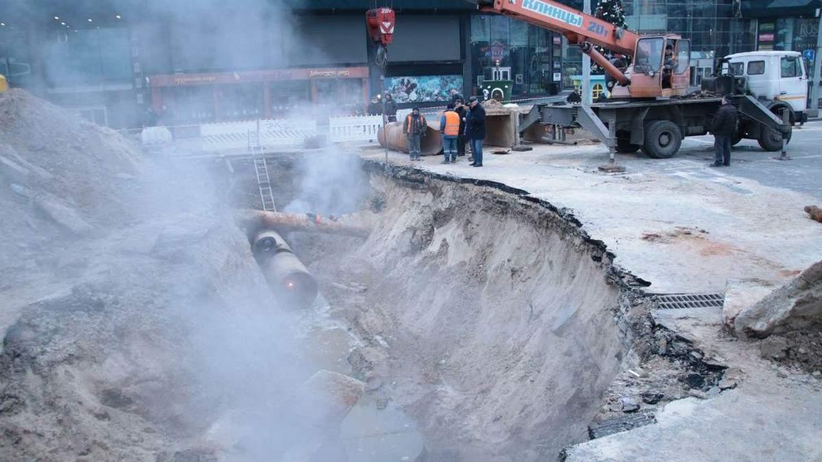 Потоп в Оушен плаза: когда закончат ремонт теплотрассы в Киеве